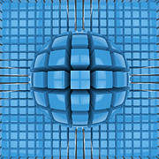 Op Art Digital Art Posters - Op art blue sphere Poster by Tomislav Zivkovic