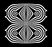 Op Art Digital Art Posters - Op Art Circles Geometric Black White Abstract Art No.259. Poster by Drinka Mercep