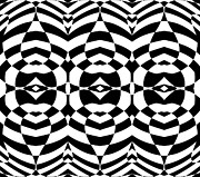 Op Art Digital Art Posters - Op Art Geometric Abstract Black White Pattern Print No.124 Poster by Drinka Mercep