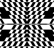 Op Art Digital Art Posters - Op Art Geometric Black White Abstract No.320. Poster by Drinka Mercep