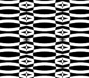 Op Art Digital Art Posters - Op Art Geometric Black White Pattern Abstract No.290. Poster by Drinka Mercep