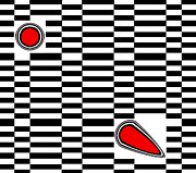 Op Art Digital Art Posters - Op Art Geometric Black White Red Abstract No.222. Poster by Drinka Mercep