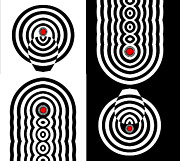 Op Art Digital Art Posters - Op Art Geometric Black White Red Abstract Print No.11 Poster by Drinka Mercep