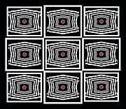 Op Art Digital Art Posters - Op Art Geometric Black White Red Digital Abstract Print No.378. Poster by Drinka Mercep