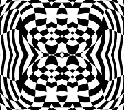 Op Art Digital Art Posters - Op Art Geometric Pattern Black White Print No.230. Poster by Drinka Mercep