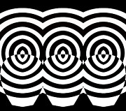 Op Art Digital Art Posters - Op Art Geometric Pattern Black White Print No.71  Poster by Drinka Mercep