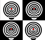 Op Art Digital Art Posters - Op Art Minimalism Geometric Black White Red Abstract No.212 Poster by Drinka Mercep