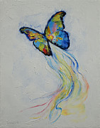 Change Painting Framed Prints - Opal Butterfly Framed Print by Michael Creese