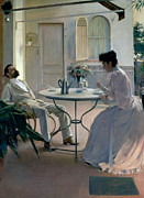 Coffee Paintings - Open Air Interior Barcelona by Ramon Casas i Carbo
