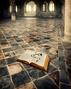 Cloistered Prints - Open Book and Roasary on the Floor Print by Jill Battaglia