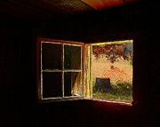 Log Cabin Art Posters - Open Cabin Window II Poster by Julie Dant