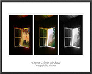 Log Cabin Art Metal Prints - Open Cabin Window Trio Metal Print by Julie Dant