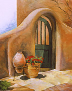 Old Door Painting Framed Prints - Open Door Adobe Framed Print by Renee Womack