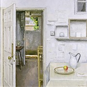 Hall Painting Prints - Open Doors with Still Life and Letter Print by Charles E Hardaker