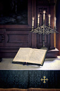 Christian Symbol Prints - Open Hymnal and Candles on Altar Print by Jill Battaglia