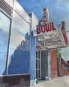 Bowling Alley Paintings - Open Lanes by Paige Wallis