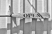 Keepers House Photos - Open sign made from a wooden oar Marshall Point Port Clyde Maine by Marianne Campolongo
