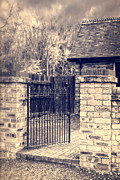 Moody Sky Posters - Open Wrought Iron Gate Poster by Christopher and Amanda Elwell