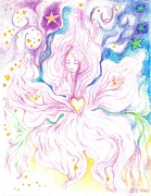 Celestial Drawings Prints - Opening and Blossoming   Dreaming the World into Being   As She Dances In the Stars Print by Lydia Erickson