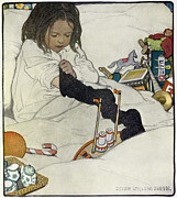 Kids Toys Paintings - Opening the Christmas Stocking by Jessie Willcox Smith