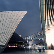 Cockle Prints - Opera house roof and harbour bridge at night Sydney Australia Print by Matteo Colombo