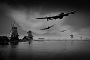 Lancaster Bomber Digital Art - Operation Chastise first wave black and white version by Gary Eason