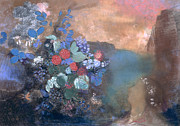 Floral Prints Prints - Ophelia among the Flowers Print by Odilon Redon