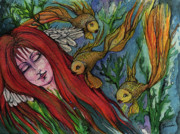 Bubbles Drawings Prints - Ophelia Print by Angel  Tarantella
