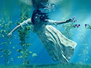 Floating Girl Digital Art - Ophelia by Daniel Eskridge