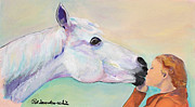 Horse Greeting Cards Framed Prints - Opies Kiss Framed Print by Pat Saunders-White