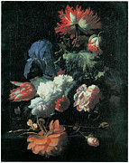 Carnation Painting Metal Prints - Opium Poppy and Other Flowers in a Glass Vase Metal Print by Simon Pietersz Verelst
