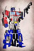 Film Poster Prints - Optimus Prime Print by Ayse Toyran