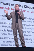 Chief Executive Officer Posters - Oracle CEO Larry Ellison Warns Of False Clouds Poster by Scott Lenhart