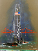 America Pastels Posters - Oracle Golden Gate Poster by Jerald Vallan