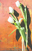 Patina Mixed Media Prints - Orange Abstract Tulips Print by Anahi DeCanio