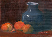 Pottery Pitcher Originals - Orange and Blue by Elizabeth B Tucker