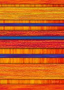 Colored Pencil Abstract Framed Prints - Orange and Blueberry Bars Framed Print by David K Small