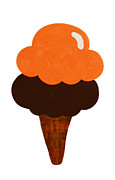 Ice Cream Illustration Posters - Orange And Chocolate Ice Cream Poster by Andee Photography