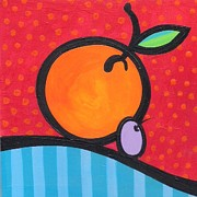 Ilustration Framed Prints - Orange and Grape Framed Print by Mary Tere Perez