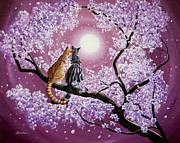 Sakura Paintings - Orange and Gray Tabby Cats in Cherry Blossoms by Laura Iverson
