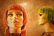 Beverly Hills Mixed Media Originals - Orange and Green Hair by Chuck Staley