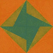 Pinwheel Posters - Orange and Green Pinwheel Poster by Michelle Calkins
