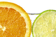 Citrus Fruits Posters - Orange and lime slices in water Poster by Elena Elisseeva