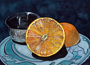 Silver Bowl Prints - Orange and Silver Print by Barbara Jewell
