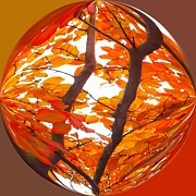 Turning Leaves Prints - Orange Art Deco Print by Scott Cameron