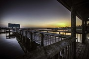 Orange Digital Art Originals - Orange Beach Pier Sunrise by Michael Thomas