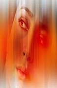 Hair Abstract Art Prints - Orange beauty Print by Nathan Wright