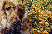 English Cocker Spaniel Posters - Orange Berries and Dog Poster by Erika Kaisersot