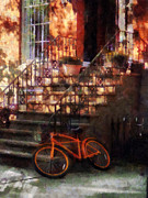 Cycling Art - Orange Bicycle by Brownstone by Susan Savad