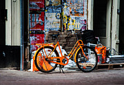 Dutch Girl Prints - Orange Bike. Amsterdam Print by Jenny Rainbow